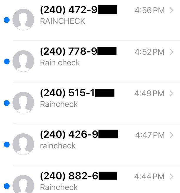 """Hank Levinen kännykkä täyttyi sadoista tekstiviesteistä tekstillä """"raincheck""""."""
