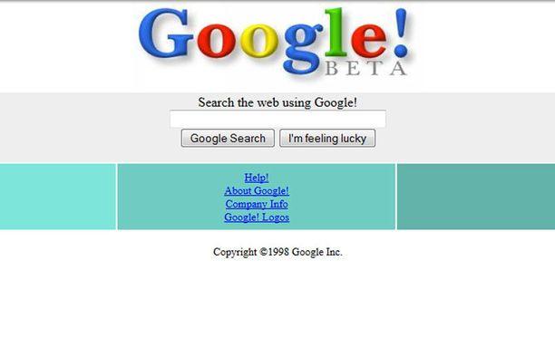 Googlen betaversio vuodelta 1998.