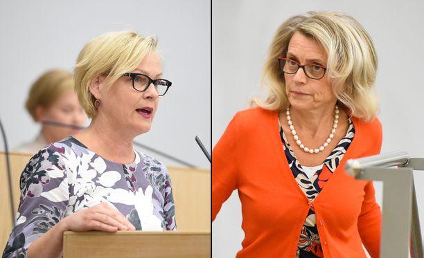 Kansanedustajat Eva Biaudet (r) ja Päivi Räsänen (kd) ajavat seksipalvelujen täyttä ostokieltoa.
