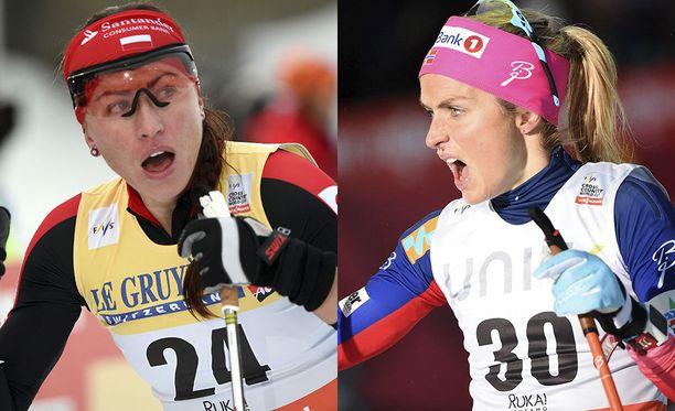 Justyna Kowalczyk piruili Therese Johaugin käryn jälkeen huulivoidepaketin dopingmerkinnästä Twitterissä.