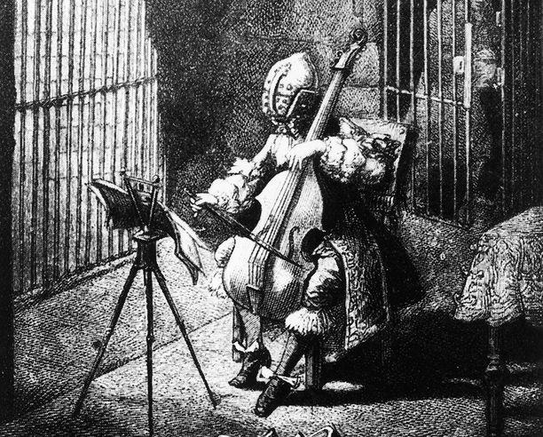 Romanttinen näkemys vangista, joka pakotettiin käyttämään rautaista naamiota.