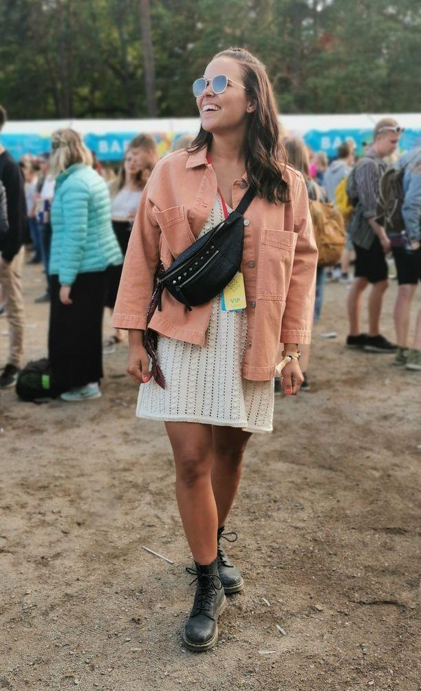 Muotibloggaaja Janni Eharin pastellitakin malli on täydellinen rentoon juhlatyyliin. Huomaa myös olan yli vedetty vyölaukku.