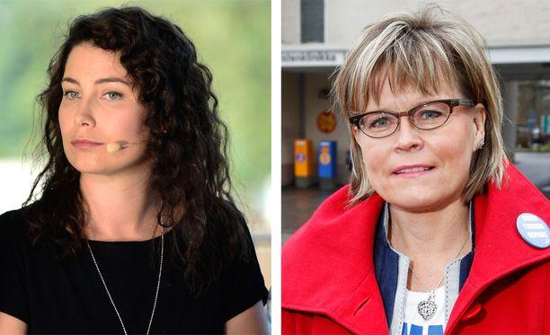 Kansanedustajat Emma Kari (vihr) ja Sari Tanus (kd) kävivät kovaa sanasotaa eduskunnassa äitiyslaista.
