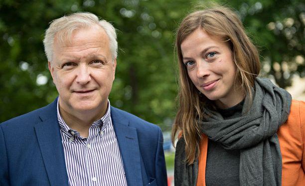 Elinkeinoministeri Olli Rehn (kesk) ja vasemmistoliiton puheenjohtaja, kansanedustaja Li Andersson keskustelivat Fennovoima-hankkeesta Suomi-areenassa.