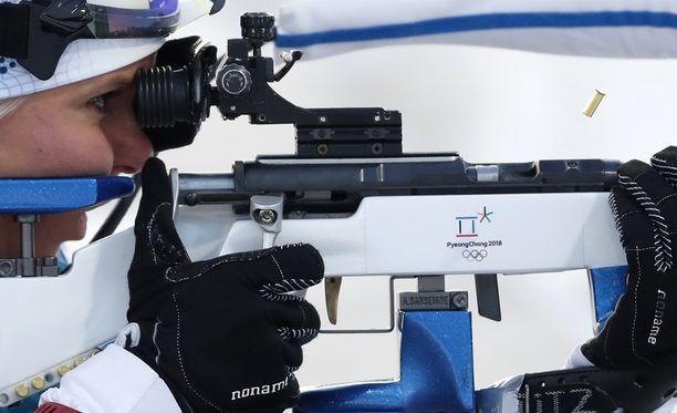 Mari Laukkasen laukaukset olympiakisoissa on ammuttu. Hiihtomaajoukkue tarvitsee urheilijaa.