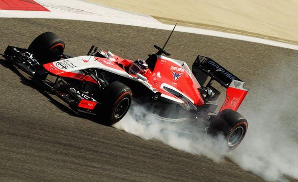 Max Chilton vauhdissa Marussian viime kauden kilpurilla.