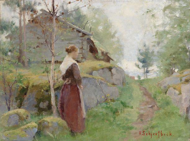 Helene Schjerfbeck: Tyttö Barösundista (1885–1890). Yksityiskokoelma.