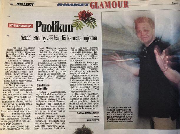 Torstaina 1.10.1998 Iltalehdessä julkaistiin Kari Pesosen haastattelu Puolikuun 10-vuotispäivän kunniaksi.