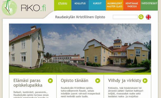 Raudaskylän kristillisen opiston verkkosivusto.