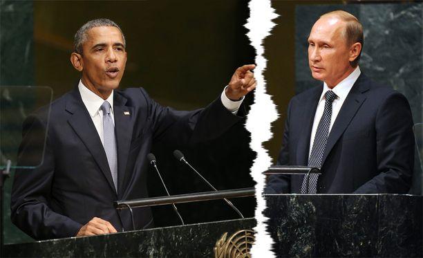 Presidentit Obama ja Putin ottivat yhteen Syyrian kriisistä YK:n yleiskokouksessa maanantaina. Kuvayhdistelmä.