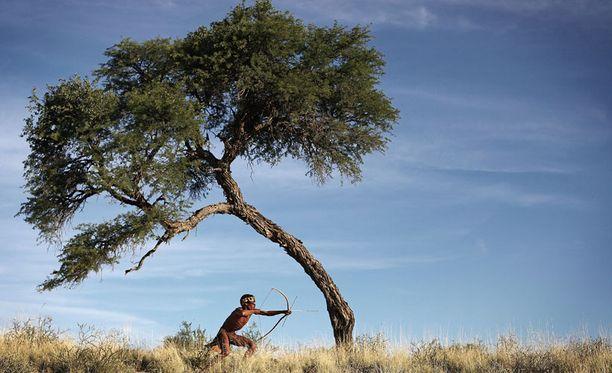 Khomani San -yhteisöön kuuluva mies poseeraa Kalaharin autiomaassa.