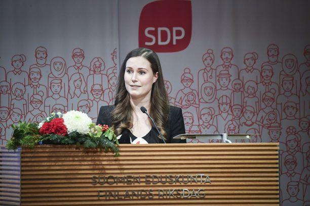 Sanna Marin SDPn puoluevaltuuston kokouksessa sunnuntaina. Hänestä tulee kaikkien aikojen nuorin pääministeri.