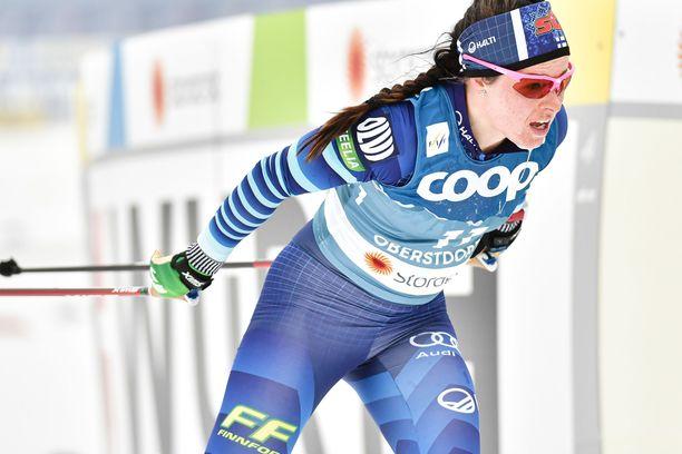 Krista Pärmäkoski oli kolmastoista MM-yhdistelmäkilpailussa lauantaina.
