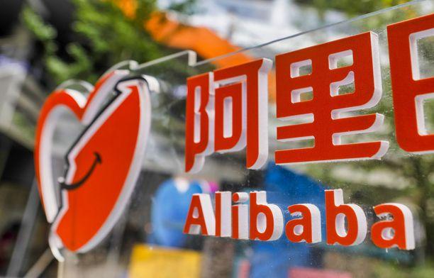 Kiinalaisen verkkokauppajätin Alibaban logo koristaa yhtiön pääkonttoria Shanghaissa.