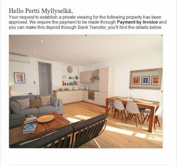Kuva on huijaussivustolta, jonka kautta Pertti Myllyselältä yritettiin saada muun muassa takuuvuokra asunnosta.