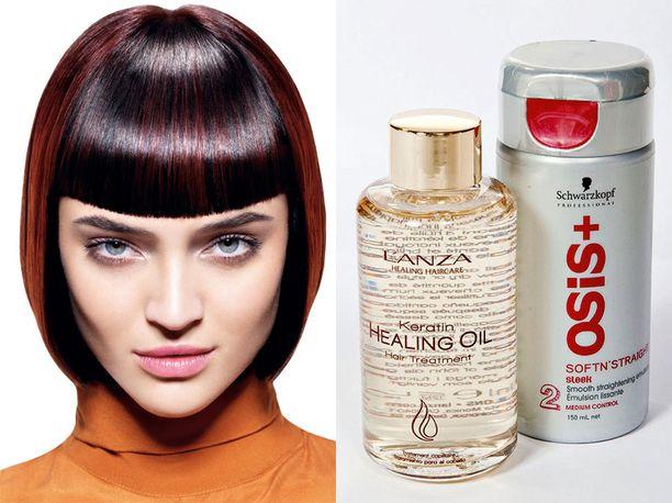 Hiukset silottaa ja sähköisyyden saa kuriin Osis+ SoftnŽstraight -suoristusemulsiolla (19,90 €/150 ml). L'anza Keratin Healing Oil -hius-öljyä (42 €/100 ml) voit käyttää kuiviin ja kosteisiin hiuksiin, muotoiluun ja hoitoon.