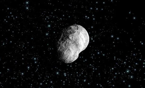 Taiteilijan luonnos Steins-asteroidista, jonka ESA:n Rosetta-alus kohtasi syyskuussa 2008.