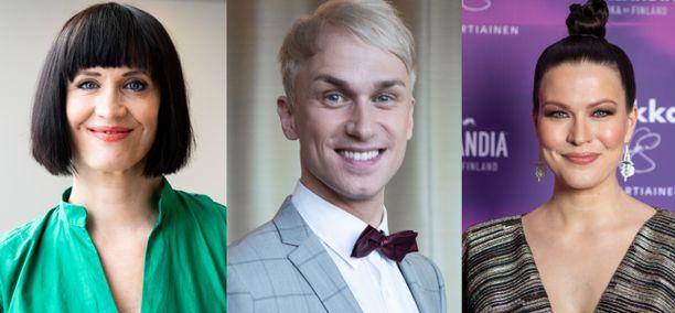 Maija Vilkkumaa (vas.), Christoffer Strandberg ja Jenni Vartiainen julkaisivat muiden julkkisten tavoin lapsuuskuviaan lapsen oikeuksien päivänä.