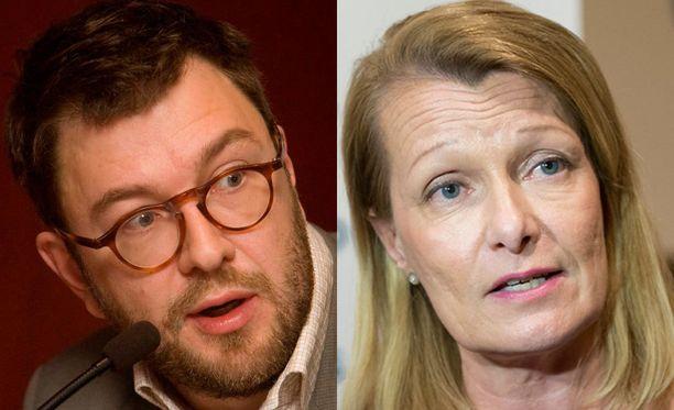 Ministeri Lenita Toivakka (oik.) syytti kansanedustaja Timo Harakkaa valehtelusta.