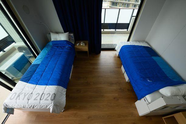 Oympiakylän sängyt on valmistettu kierrätettävästä materiaalista.