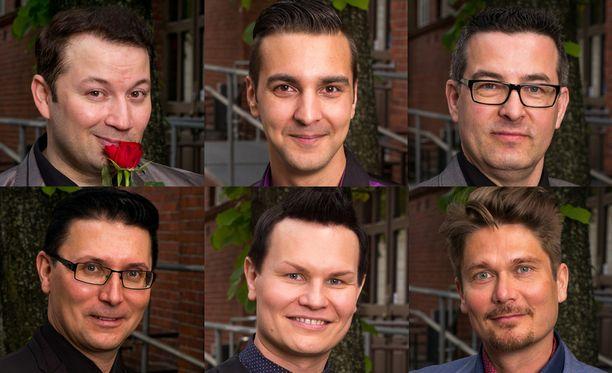 Uusi tangokuningas on joko ylärivin Marco Lundberg (1. vas.), Benjamin Enroth, Petri Ritari tai alarivin Mika Lappalainen (1. vas.), Markku Uhlbäck tai Visa Luttinen.