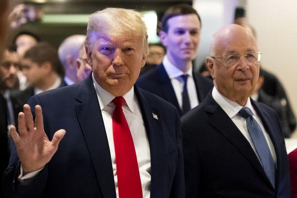 Presidentti Donald Trump kuvattiin Davosissa tiistaina.