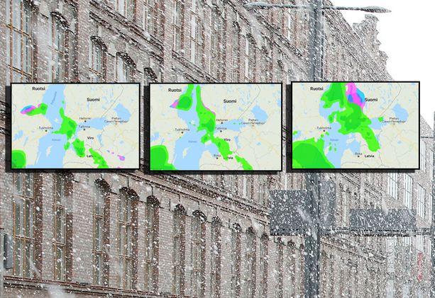 Vesi-, räntä- ja lumisaderintama peittää Suomen varhain lauantaina. Sadetutkan kuvakaappaukset vasemmalta lukien: klo 2.00, klo 5.00, klo 8.00,