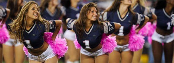New England Patriotsin cheerleaderit tukevat joukkuettaan viikonloppuna.