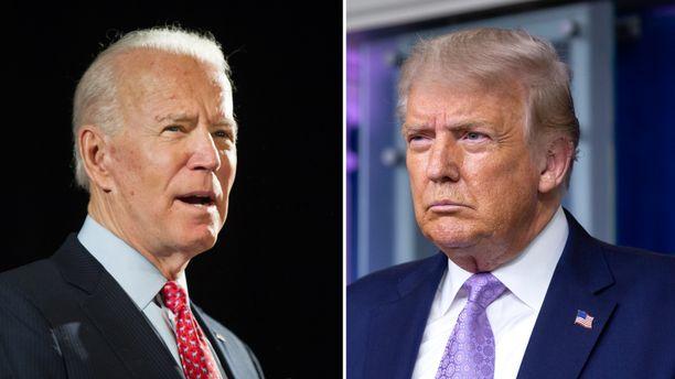 Demokraattien ehdokas Joe Biden (vas.) kohtaa presidentti Donald Trumpin marraskuun presidentinvaaleissa.