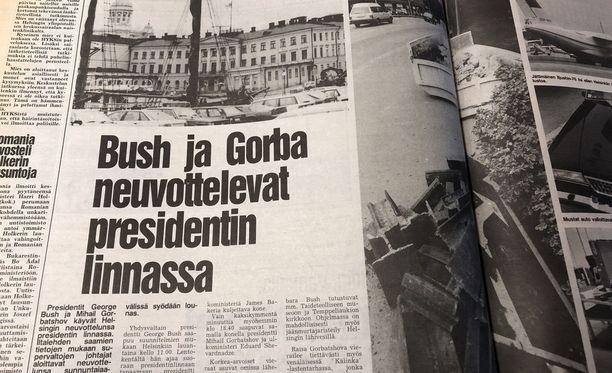 """Iltalehti uutisoi vuonna 1990 vain muutama päivä ennen tapaamista, että Bush ja """"Gorba"""" neuvottelevat Presidentinlinnassa."""