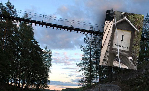 Turvaväli seuraavaan kulkijaan pitää olla riippusillalla ainakin 10 metriä. Juhannuspäivänä monet retkeilijät eivät piitanneet säännöstä, kertoo Sara Leskinen Iltalehdelle.