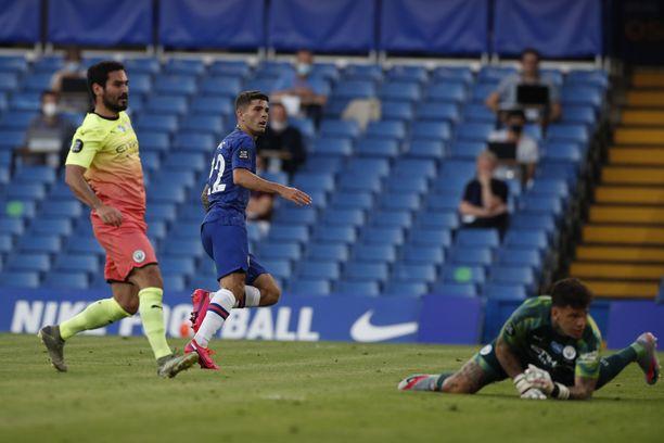 Christian Pulisic vei Chelsean 1–0-johtoon.