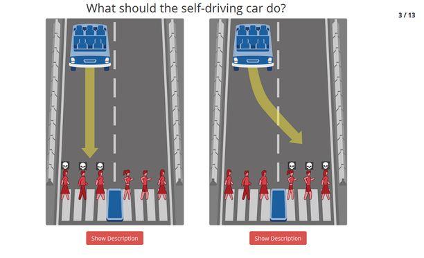 Kyselyssä pitää tehdä vaikeita eettisiä valintoja liikenteessä.