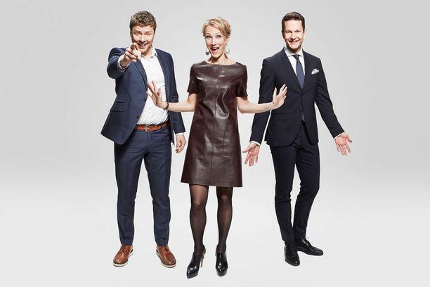 Jaakko Saariluoma, Maija Lehmusvirta ja Jaakko Loikkanen juontavat MTV3:n etkot.