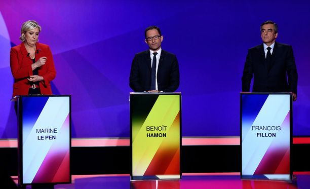 Kuvassa ehdokkaat Marine Le Pen, Benoit Hamon ja Francois Fillon.