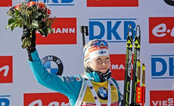 Kaisa Mäkäräinen nousi jälleen palkintopallille.