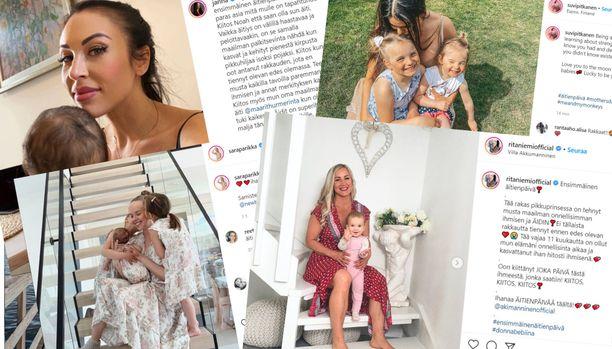 Julkisuudesta tutut suomalaiset äidit ovat jakaneet kuvia jälkikasvustaan sosiaalisessa mediassa.