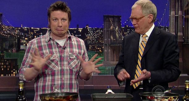 Jamie Oliver ja David Letterman kiistelivät amerikkalaisten ruokatottumuksista.