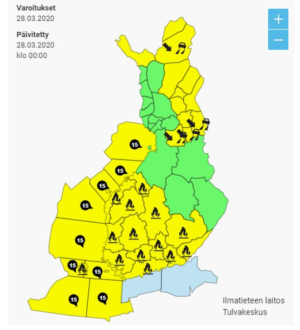 Lauantain varoituskartta on monin paikoin keltaisella.