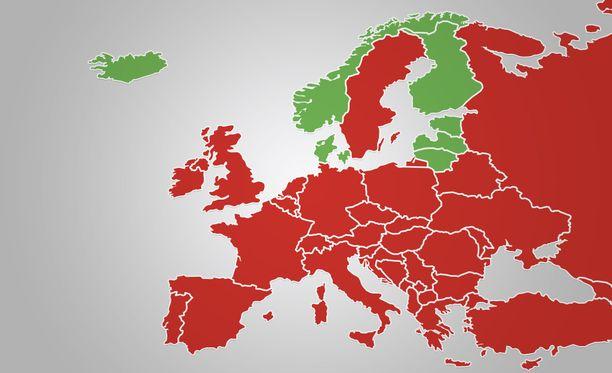 Näiden maiden kansalaiset pääsevät Suomeen ilman karanteenia. Ainakin Baltian maihin suomalaiset turistit pääsevät ilman karanteenia. Norja linjaa asiasta huomenna, ja Tanska ensi viikolla.