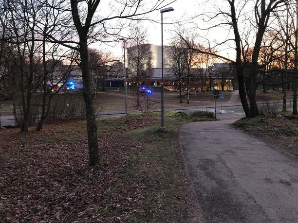 Ohikulkija ilmoitti hätäkeskukseen liekeistä ja savusta Tarja Halosen puistossa.