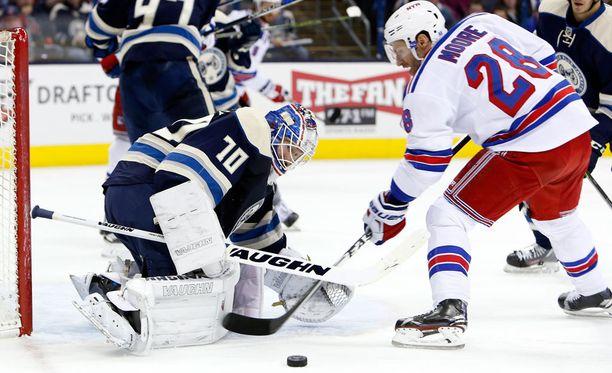 Joonas Korpisalo joutui antautumaan kolmesti Rangersin edessä. Neljäs syntyi tyhjiin.