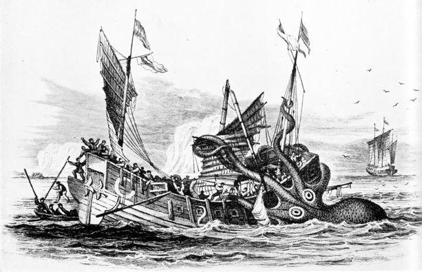 Pierre Denys de Montfortin näkemys myyttisestä krakenista vuodelta 1810.