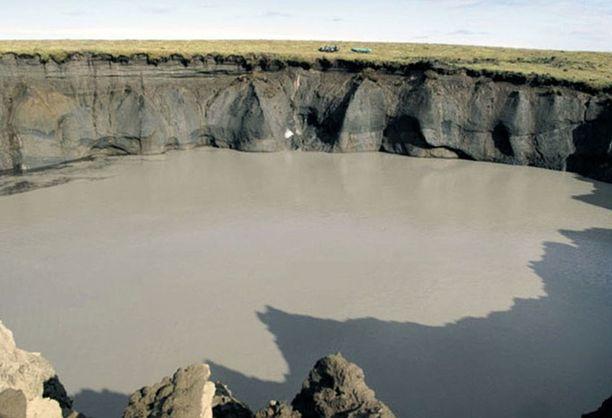Taimyrin niemimaalle syntyi satojen metrien kraatteri metaaniräjähdyksestä vuonna 2013.