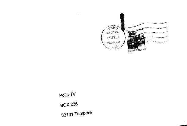 Kirje saapui tällaisessa kuoressa Poliisi-tv:lle.