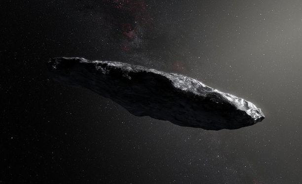 Virtaviivainen Oumuamua halkoo Aurinkokuntaa.