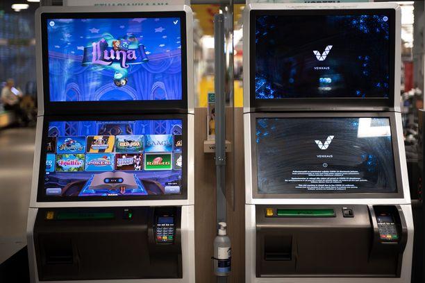 Veikkauksen peliautomaatteja. Kuvituskuva.