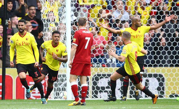 Watford-Liverpool-ottelussa tuuletettiin maalia kuudesti.