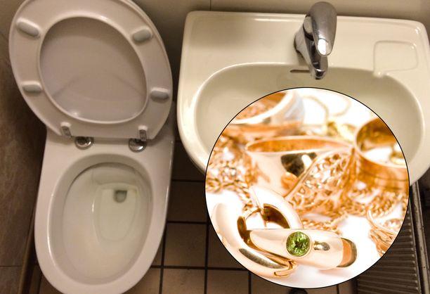 Epäillyt tekijät yrittivät huuhtoa anastamaan tavaraa vessasta alas. Kuvituskuva.