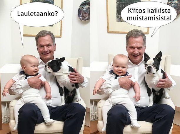 Elokuun lopussa 70-vuotta täyttänyt Sauli Niinistö julkaisi Twitterissä kuvan, jossa presidentin sylissä ovat Aaro-poika ja Lennu-koira. Kuva on ensimmäinen julkinen kuva hänen ja Jenni Haukion helmikuussa syntyneestä Aaro-pojasta
